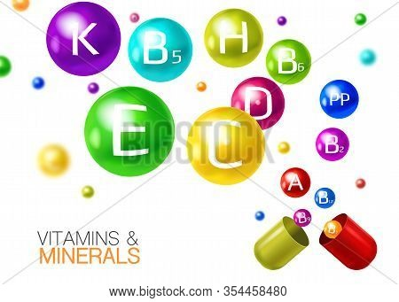 Essential Multivitamins With Minerals In Capsules Pills Realistic Colorful Composition With 3d Flyin