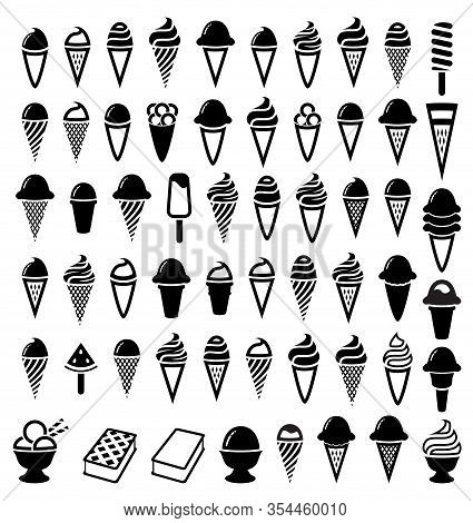 Vector Black And White Ice Cream Icons. Wafer Icecream Cones And Cups. Popsicles And Bowl Ice-cream