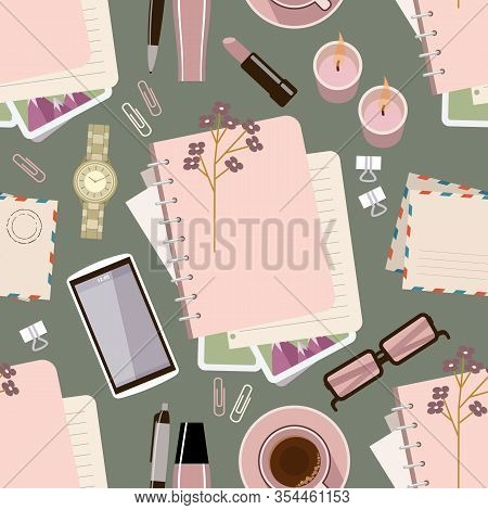 Seamless Pattern Withl Diary On The Table. Women's Glamorous Things. Stylish Workplace. Vector Flat