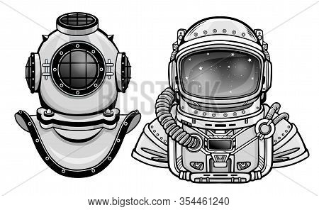 Human Inventions: Ancient Diving Helmet, Astronaut`s Suit. Past And Future. Depth Science. Vector Il