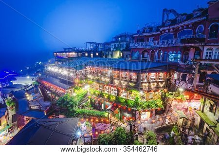 Taipei, Taiwan - May 14 ,2019, The Top View And Night View Of Jiufen Old Street, A Famous Sightseein