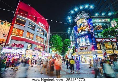 Taipei, Taiwan - May 15, 2019 -ximending Night Market Is A Very Popular Neighbourhood Of Taipei ,thi
