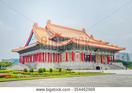 Taipei, Taiwan - May 13, 2019: Famous National Theater Hall Of Taiwan At National Taiwan Democracy S