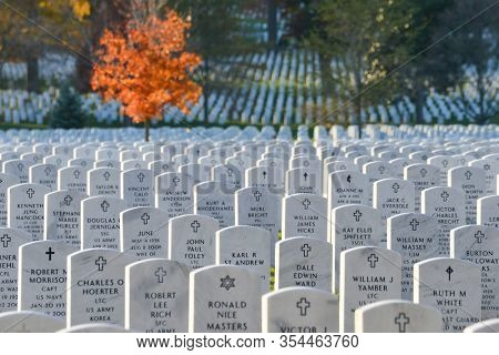 Washington DC / United States - November 16 2014: Autumn time in Arlington National cemetery . The Cemetery located in Arlington County, Virginia, across the Potomac River from Washington DC