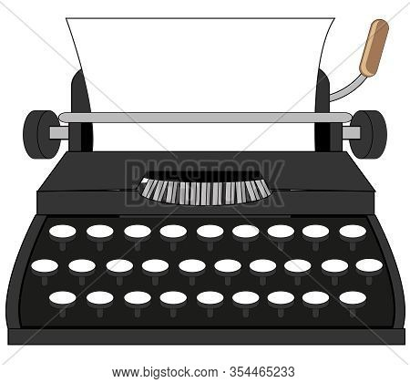 Old-time Typewriter On White Background Is Insulated