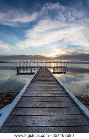 Belmont Jetty Sunset - Newcastle Nsw Australia