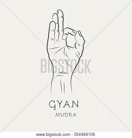 Gyan Mudra Or Chin-mudra - Gesture In Yoga Fingers. Symbol In Buddhism Or Hinduism Concept. Yoga Tec
