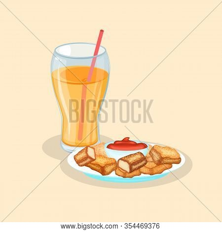 Nuggets And Fresh Orange Juice - Cute Cartoon Colored Picture. Graphic Design Elements For Menu, Pos