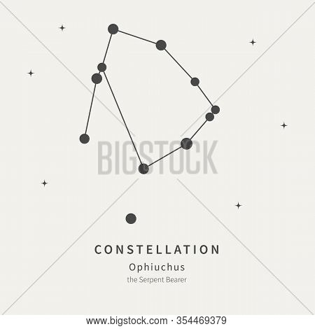 The Constellation Of Ophiuchus. The Serpent Bearer - Linear Icon. Vector Illustration Of The Concept