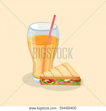 Panini And Fresh Orange Juice- Cute Cartoon Colored Picture. Graphic Design Elements For Menu, Poste