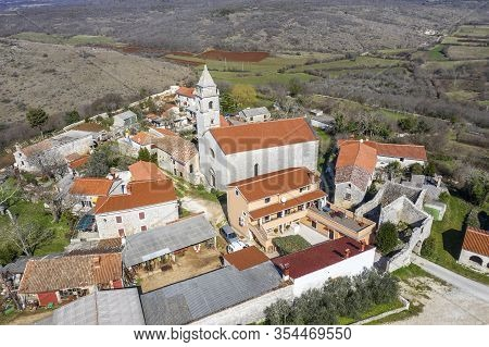 An Aerial Shot Of Mutvoran, Small Picturesque Village In South Istria, Croatia