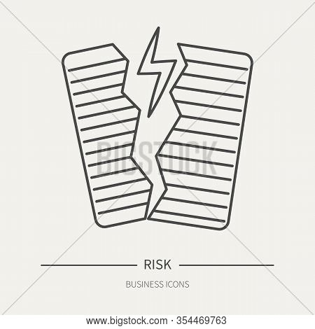 Entrepreneurial Risk - Business Icon In Flat Thin Line Style. Graphic Design Elements For Ad, Apps,