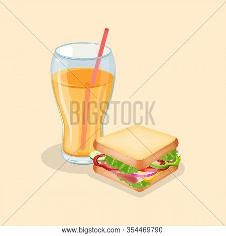 Sandwich And Fresh Orange Juice - Cute Cartoon Colored Picture. Graphic Design Elements For Menu, Po