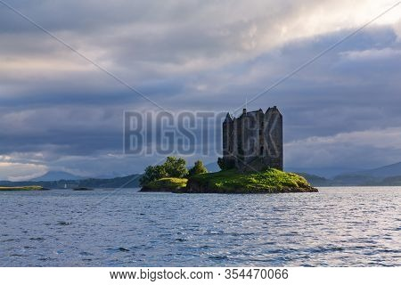 Landscape Of Stalker Castle On A Cloudy And Gloom Afternoon With Clouds