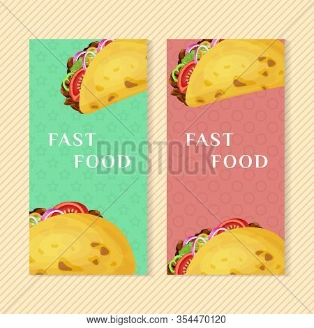 Fast Food Banners With Taco. Graphic Design Elements For Menu Packaging, Advertising, Poster, Brochu