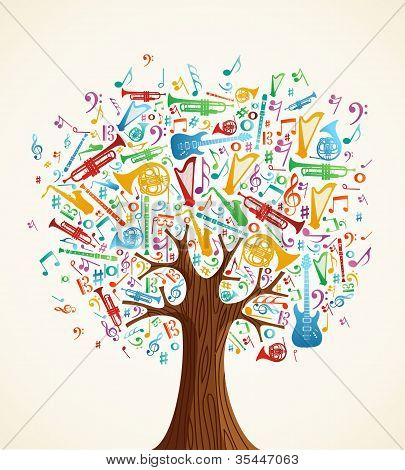 Abstract Musical Tree Made With Instruments