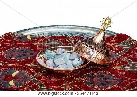 Traditional Colorful Turkish Delights Served In Handmade Copper Plate And A Tray. Souvenirs From Tur