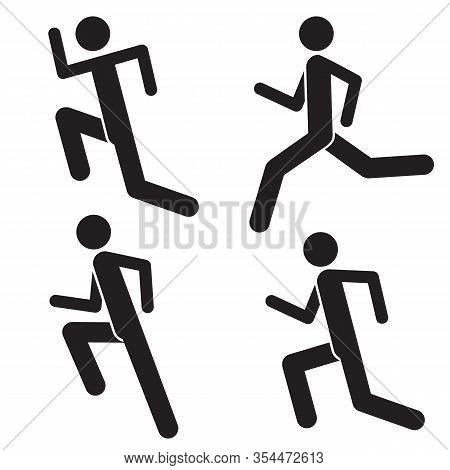 Set Of Running Man Icons Isolated On White Background. Healthy Lifestyle. Silhouette Of Male Sprinte