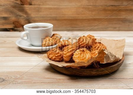 Natural Baked Coconut Cookies Or Cocoanut Macaroons With Coco Chips