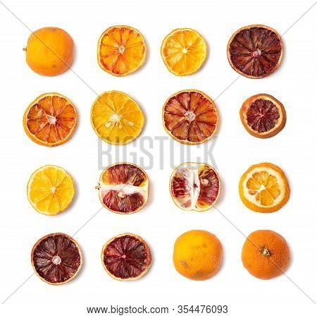 Dried Slices Of Orange And Blood Orange Isolated