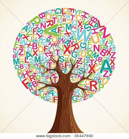 School education concept tree made with letters. Vector file layered for easy manipulation and custom coloring. poster