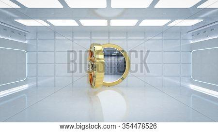 3d Rendering Interior Bank Vault With Door Unlock