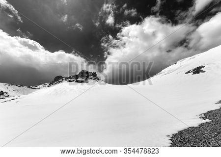 Snowy Plateau And Sky With Clouds. Turkey, Central Taurus Mountains, Aladaglar (anti-taurus), Platea