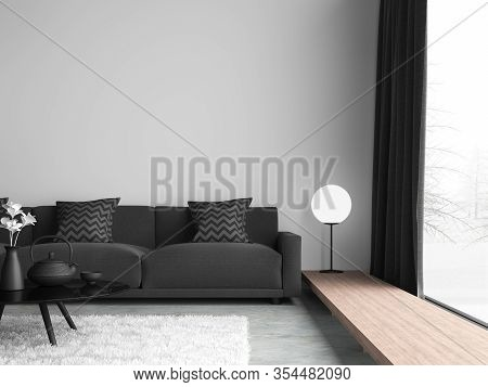 Minimal Style Black And White Living Room 3d Render,there Are Concrete Floor,white Wall.finished Wit