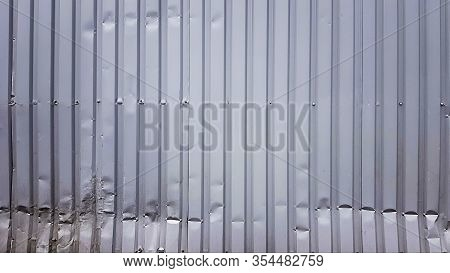 Old Zinc Abstract. Zinc Vintage Background View. Crumpled Metal Plate Of The Fence. Tin Roof Backgro