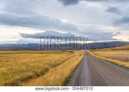 Roadtrip In Iceland Unpaved Gravel Road F550 Leading Towards Langjoekull Glacier