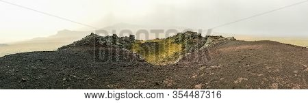 Snaefellsness National Park In Iceland Panorama From Top Of Volcano During Foggy Day Black And Red R