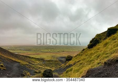 Snaefellsness National Park In Iceland Raudfeldsgja Gorge View Towards Coast During Heavy Rain