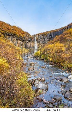 Svartifoss Waterfall Black Basalt Columns Between Autumn Colored Landscape Creating River