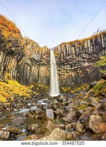 Svartifoss Waterfall Black Basalt Columns Between Autumn Colored Landscape Long Exposure
