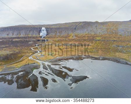 Westfjords Of Iceland Göngummanafoss And Dynjandi Waterfall Aerial Photo Of Fall And Mouth Of River