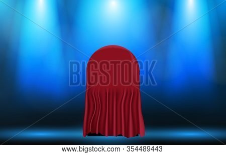 Abstract Background Of Round Box With Red Cloth Fabric, Surprise Master Piece Concept