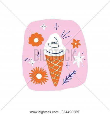 Vanilla Icecream Doodle Flat Vector Design Clip Art