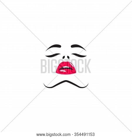 Sexy Woman, Face Of Young Lady, Colsed Eyes And Open Mouth, Vector Glamour Sensual Girl