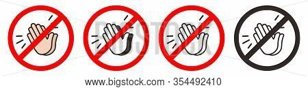 No Applause Vector Set Icon. Flat No Applause Symbol Is Isolated On A White Background.