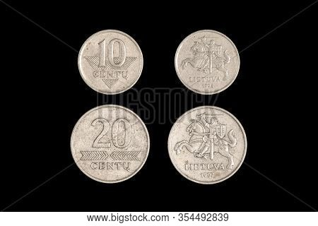 Coin Lithuania Lit On The Black Background.centu Lietuva