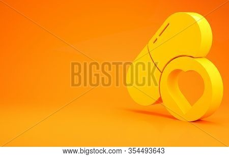 Yellow Pills For Potency, Aphrodisiac Icon Isolated On Orange Background. Sex Pills For Men And Wome