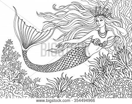 Mermaid Undersea, Hand Drawn Linen Vector Illustration On A White Background For Coloring Book