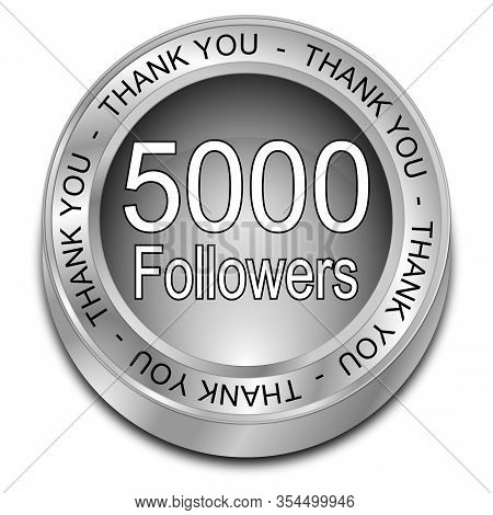 Silver 5000 Followers Thank You - 3d Illustration