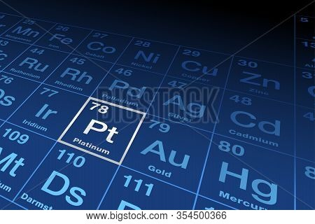 Element Platinum On The Periodic Table Of Elements. Chemical Element With Symbol Pt From Spanish Pla