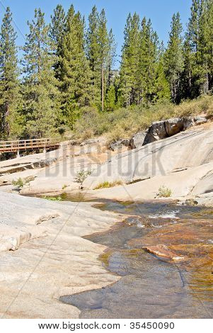 River Stream Running Through Bedrocks