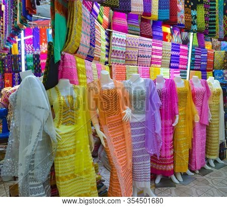 Traditional Asian Burmese Dresses And Fabrics On Display Yangon Myanmar