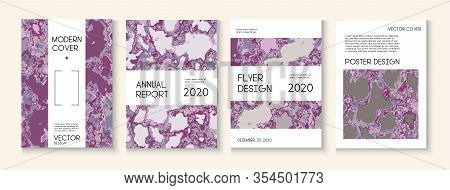 Geographic Map Fluid Paint Vector Cover. Water Ecology Blue Winter Report. Simple Earth Day Ecology