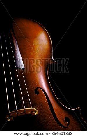 Vintage Cello On Black Background. Cello Details.