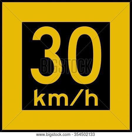 30 Km/hr Speed Limit Sign Board. Parking Area, Bridge Signs. Black On Yellow Board.