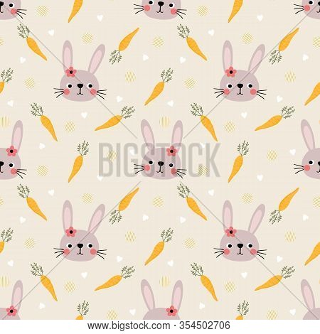 Cute Bunny And Easter Eggs Seamless Pattern. Lovely Bunny On Easter Background.